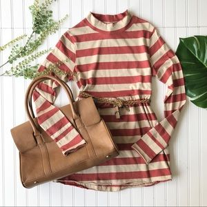 Free people tunic striped orange cream tan top